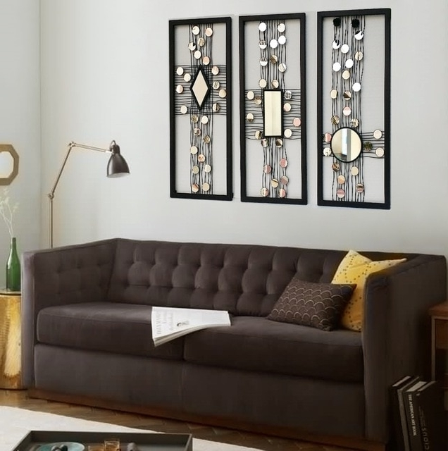Trendy Metal Wire Wall Panel Art Mirrored Wall Decor Framed Wall Art W Intended For Metal Framed Wall Art (View 4 of 15)