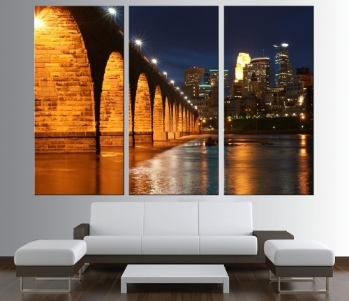 Trendy Minneapolis Skyline Wall Art Canvas Print, Extra Large Wall Art 190 Intended For Minneapolis Wall Art (View 2 of 15)