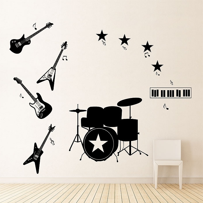 Trendy Musical Instrument Wall Art Pertaining To Music Instruments Four Guitars Vinyl Wall Art Decal (View 14 of 15)