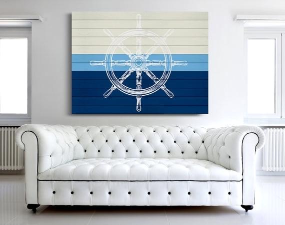 Trendy Nautical Canvas Print, Nautical Wheel Art, Sailing Canvas Print Intended For Nautical Canvas Wall Art (View 13 of 15)