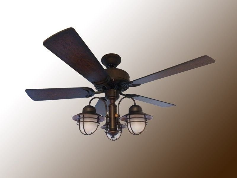 "Trendy Nautical Outdoor Ceiling Fans With Lights Inside 42"" Indoor / Outdoor Nautical Ceiling Fan – Weathered Brick Finish (View 12 of 15)"