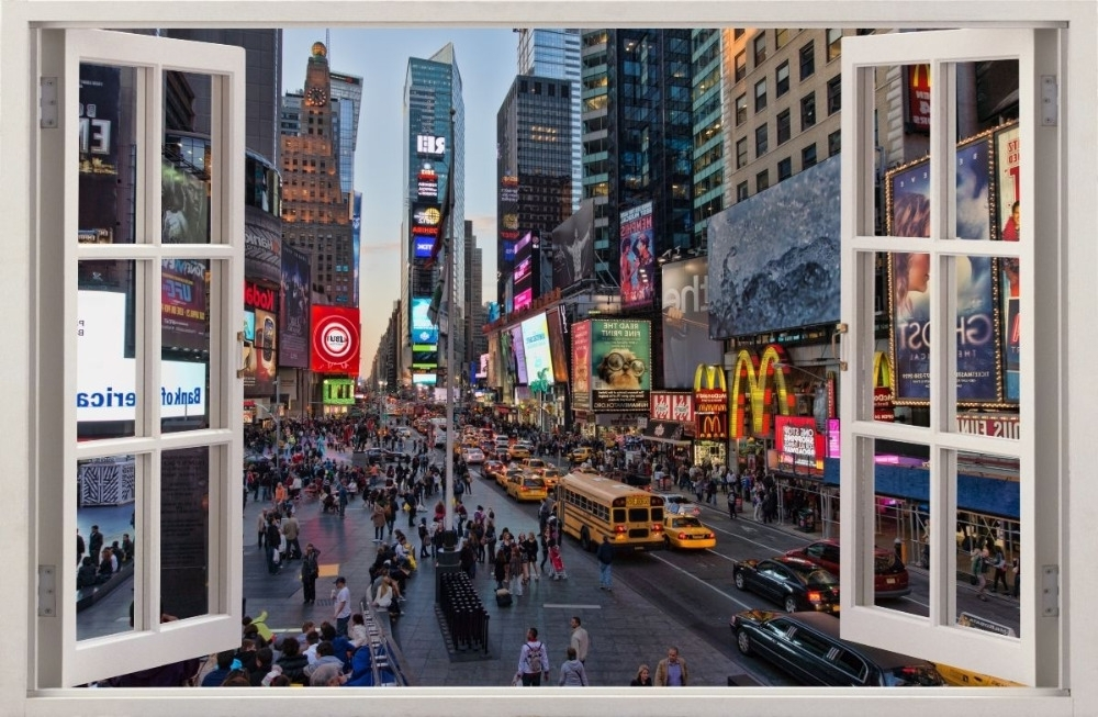 Trendy New York 3D Wall Art Regarding 3D Effect Window Wall Stickers New York Times Square Sticker Decor (View 10 of 15)