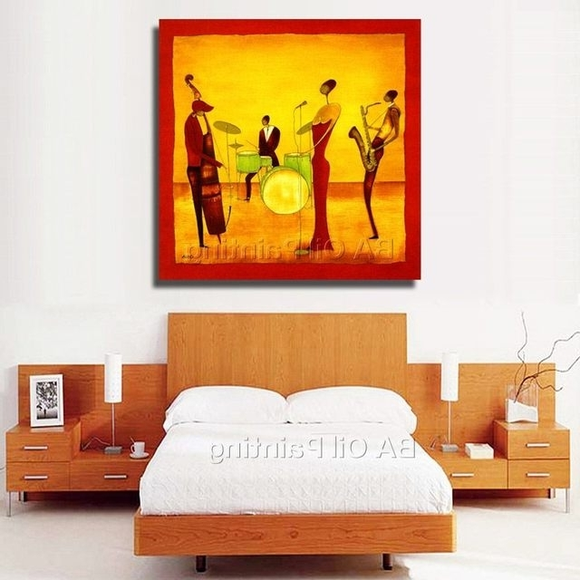 Trendy Online Shop Free Shipping Handpainted Abstract Jazz Band Oil For Abstract Jazz Band Wall Art (View 15 of 15)