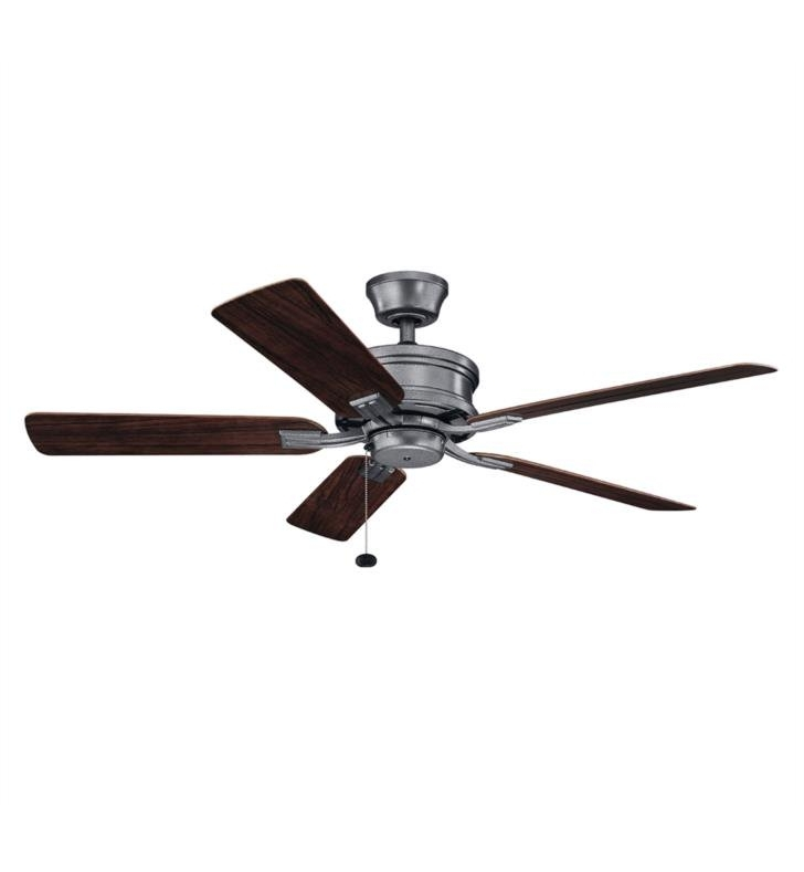 "Trendy Outdoor Ceiling Fans With Pull Chain Inside Kichler 310220 Tess 5 Blades 52"" Indoor/outdoor Ceiling Fan With (View 9 of 15)"
