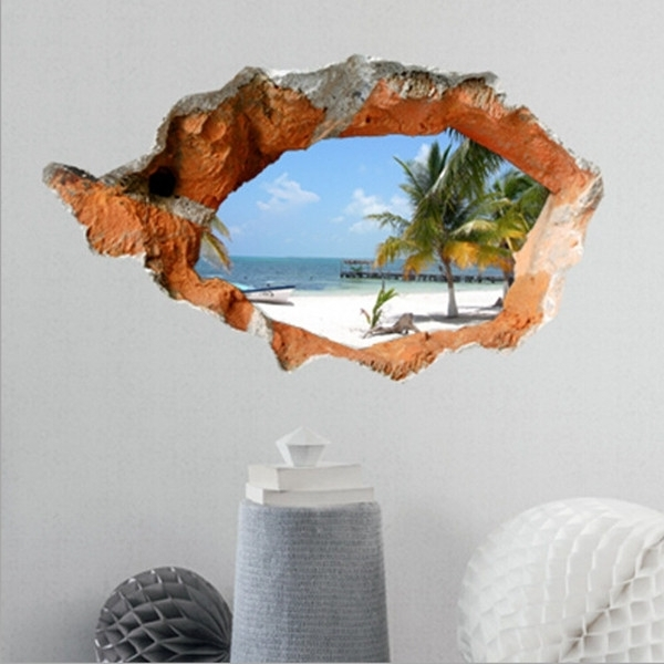 Trendy Popular 3D Wall Art Home Decor Ideas 3D Beach Decals 38 Inch In 3D Wall Art Night Light Australia (View 10 of 15)