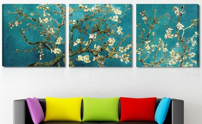 Trendy Print Painted Van Gogh Oil Painting Reproductions 3 Piece Abstract With Regard To 3 Piece Abstract Wall Art (View 9 of 15)