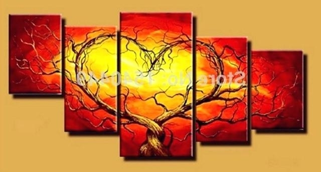 Trendy Red And Yellow Wall Art Regarding Red And Yellow Wall Art Abstract Wall Art Red Orange Yellow Green (View 12 of 15)