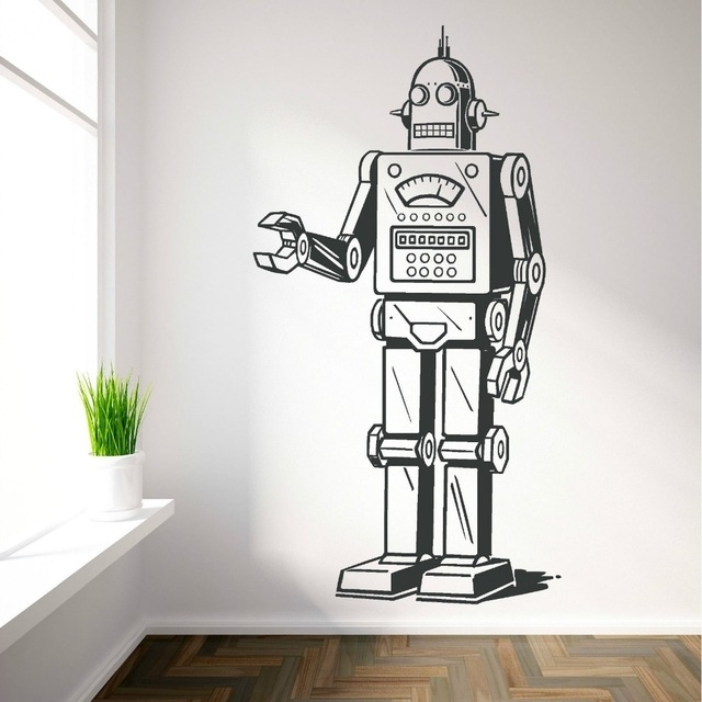 Trendy Robot Vinyl Wall Art Sticker Decal Boys Bedroom Childrens Room Inside Wall Art Stickers For Childrens Rooms (View 12 of 15)