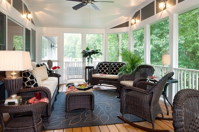 Trendy Shelley Rodner – Traditional – Porch – Dc Metro  Decorating Den Regarding Outdoor Ceiling Fans For Screened Porches (View 13 of 15)
