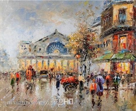 Trendy Street Scene Wall Art Inside 2018 Paris Street Scene,handpainted &hd Print Impressionist Art Oil (View 14 of 15)