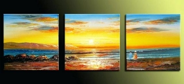 Trendy Sunset Wall Art 3 Piece Canvas Home Decor Large Pictures Blue Huge Regarding 3 Piece Beach Wall Art (View 7 of 15)