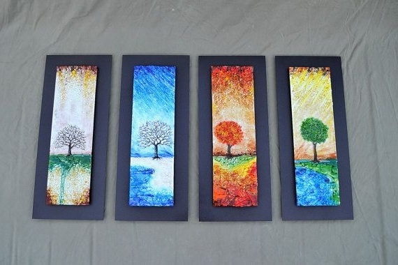 Trendy The Four Seasons - Fused Glass Wall Art With Textured Relief in Glass Wall Artworks