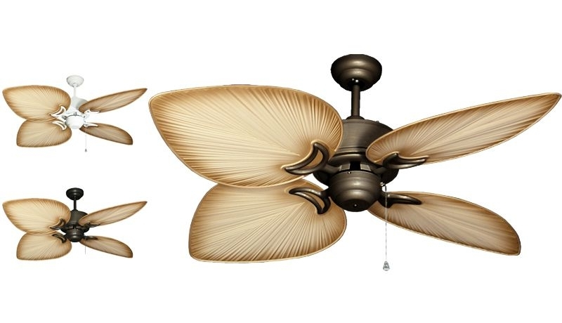 "Trendy Tropical Design Outdoor Ceiling Fans For Gulf Coast – Bombay Tropical Outdoor Ceiling Fan – 52"" Sweep Tan (View 2 of 15)"