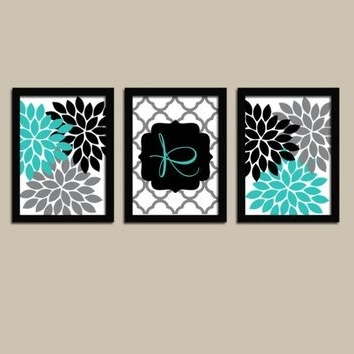 Trendy Turquoise And Black Wall Art Throughout Best Canvas Wall Art Turquoise Products On Wanelo (View 11 of 15)