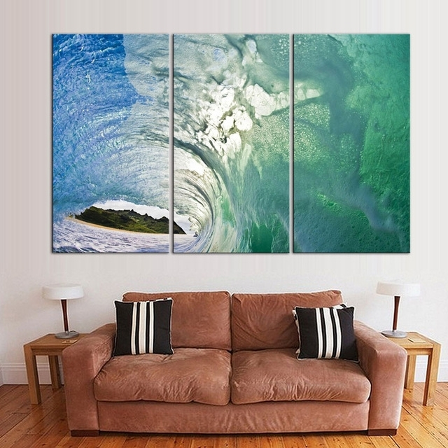 Trendy Waves With Island Canvas Prints Painting Blue Modern Abstract In Abstract Landscape Wall Art (View 15 of 15)