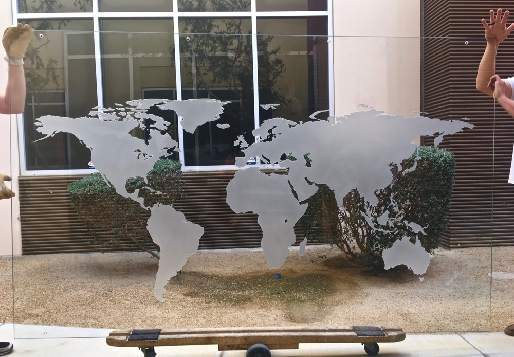 Trendy World Map 3D Carved Glass Wall Art (View 12 of 15)