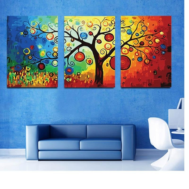 Triptych Art For Sale With Regard To 2018 2018 Hot Sell Rich Tree Canvas Modern Triptych Wall Painting Money (View 5 of 15)
