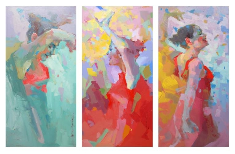 Triptych Art For Sale With Regard To Best And Newest Saatchi Art: Triptych Paintingrenata Domagalska (View 15 of 15)