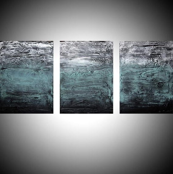 """Triptych Art For Sale With Regard To Most Popular Turquoise Triptych"""" Abstract Artists Triptych Art On Canvas (View 8 of 15)"""