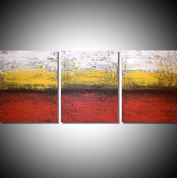 Triptych Art For Sale Within Latest Acrylic Painting Canvas Triptych Modern Art Artiststuart Wright (View 6 of 15)