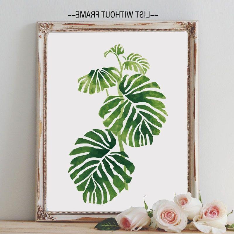 Tropical Palm Leaves Art Prints Green Rainforest Philodendron For Most Recently Released Palm Leaf Wall Decor (View 10 of 15)