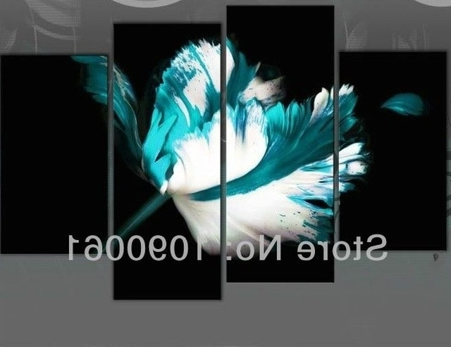Turquoise And Black Wall Art Within Fashionable Hand Painted Modern White And Turquoise Flower Painting On Black (View 14 of 15)