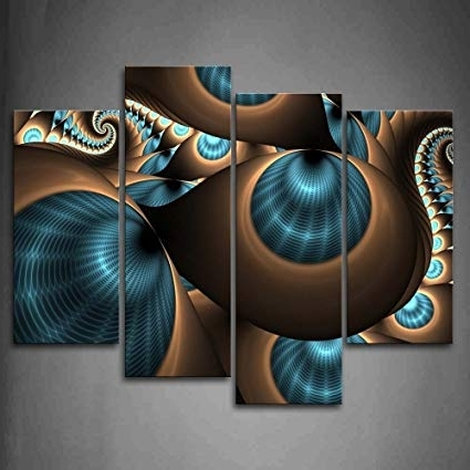 Turquoise And Brown Wall Art Pertaining To Most Popular Amazon: Abstract Blue Brown Like Several Holes Wall Art Painting (View 2 of 15)