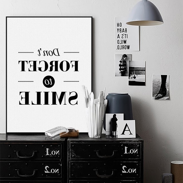 Typography Canvas Wall Art Inside Favorite Nordic Black White Minimalist Motivational Typography Smile Quotes (View 10 of 15)
