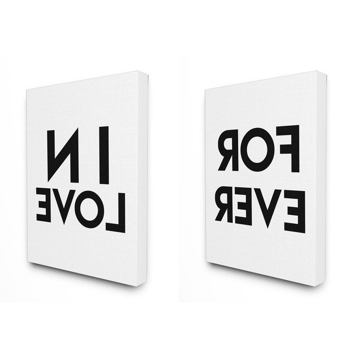 Typography Canvas Wall Art Throughout Trendy Stupell Industries For Ever In Love Typography 2Pc Stretched Canvas (View 11 of 15)
