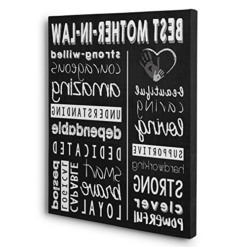 Typography Canvas Wall Art With Regard To Widely Used Amazon: Best Mother In Law Gift Subway Art Typography Canvas (View 7 of 15)