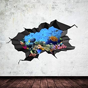 Underwater Cracked Cave Aquarium Fish 3D Wall Art Sticker Boys Decal In Recent Fish 3D Wall Art (View 10 of 15)
