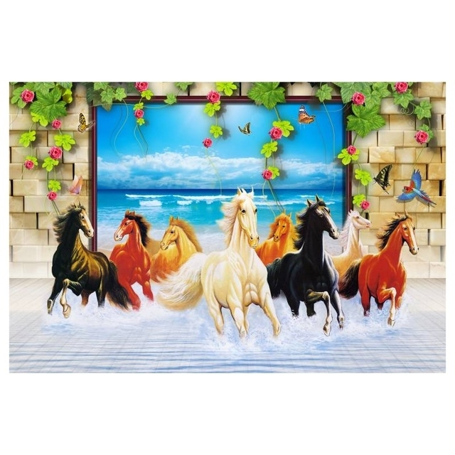 Unframed 3D Horse Large Size Paintings For Living Room Wall Modern intended for Most Recently Released 3D Horse Wall Art