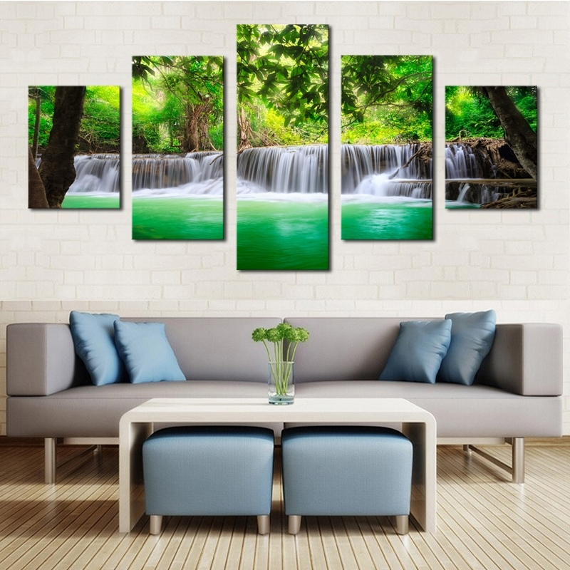 Unframed 5 Panels Green Waterfall Scenery Canvas Print Painting In Current Green Canvas Wall Art (View 13 of 15)