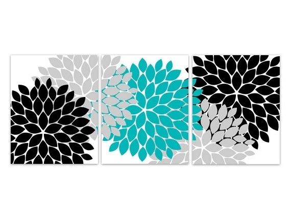 Unframed Prints – Luster Photo Paper Set Of 3 Wall Art Prints With With Fashionable Turquoise And Black Wall Art (View 2 of 15)