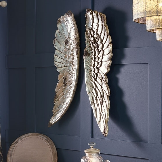 Valuable Ideas Angel Wings Wall Art Silver Tutti Decor Ltd Large inside Well known Angel Wings Sculpture Plaque Wall Art