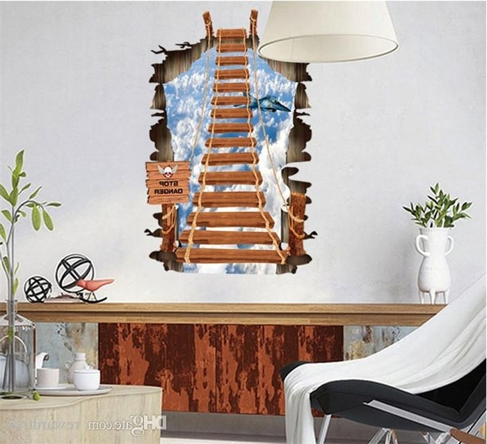 Venezuela Wall Art 3D Intended For Famous 3D Walls Drawbridge Wall Stickers Creeper Decorative Wall Decal (View 11 of 15)