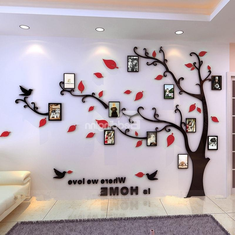 Venezuela Wall Art 3D Pertaining To Most Popular Photo Frame Tree Country Style Acrylic 3D Waterproof 11 Photo Frames (View 12 of 15)