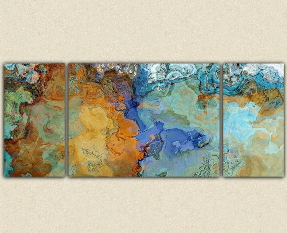 Very Large Abstract Wall Art Canvas Print, 30X72 To 40X90 Triptych throughout Favorite Abstract Expressionism Wall Art