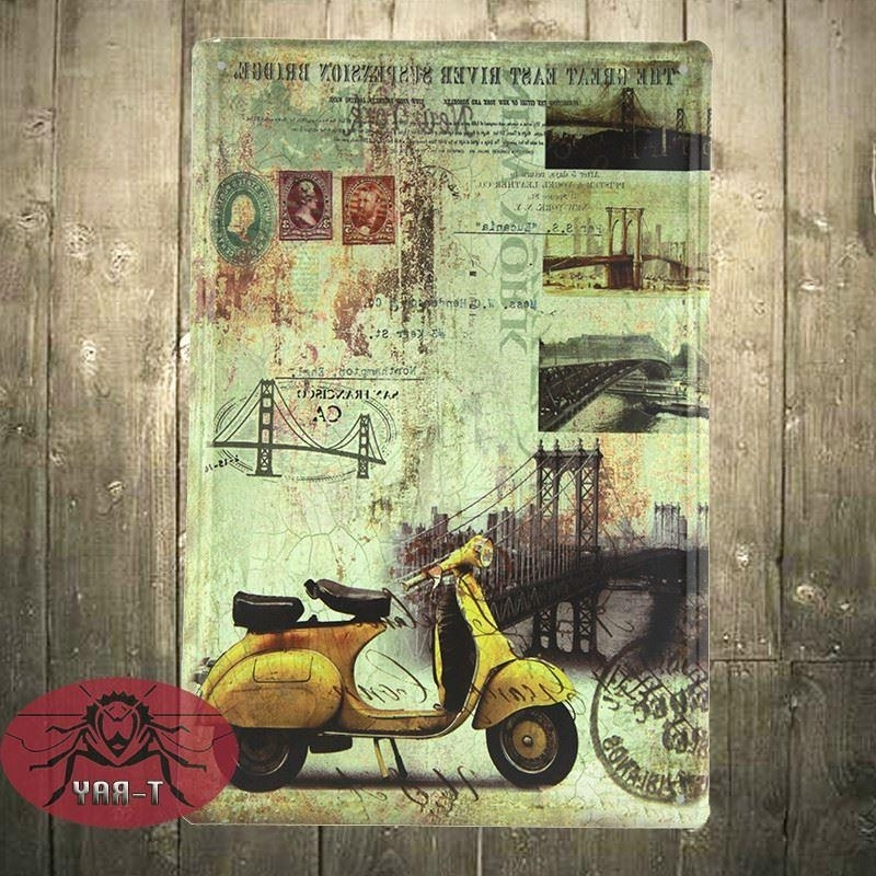 Vespa Scooters Wall Mural Painting Decorative Painting Home with Most Recent Vespa 3D Wall Art
