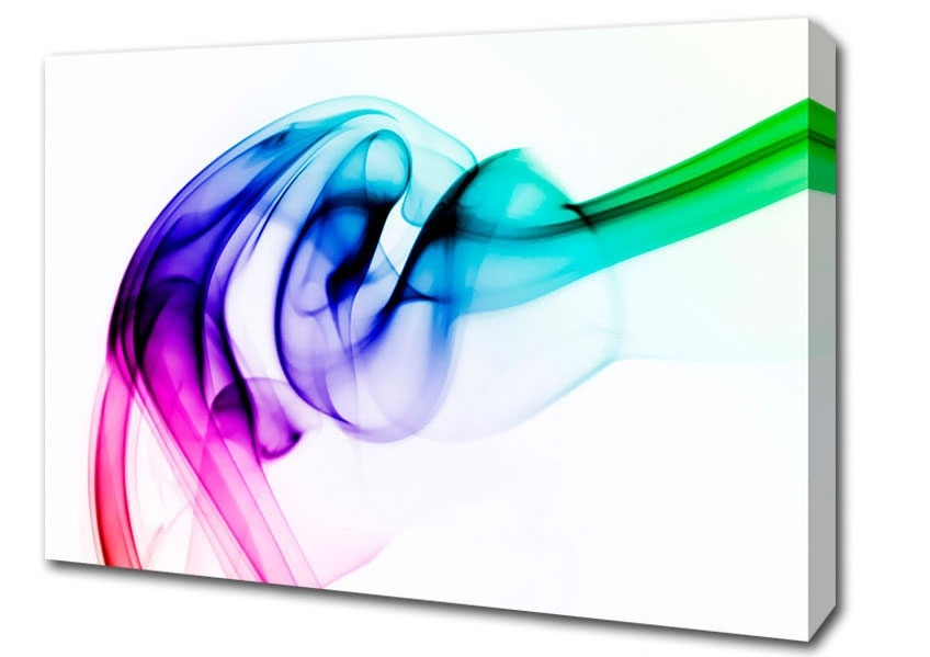 Vibrant Smoke Abstract Canvas Stretched Canvas For Famous Vibrant Wall Art (View 12 of 15)