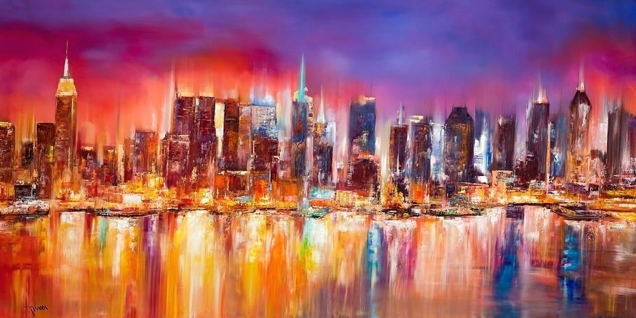 Vibrant Wall Art for Most Up-to-Date Nyc Wall Art New City Painting Vibrant New City Skylinenyc