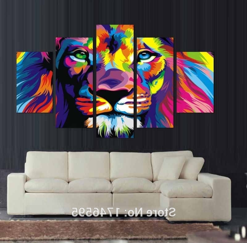 Vibrant Wall Art Inside Newest Cheap High Quality Colorful Lion Wall Art Picture Decor Printed Lion (Gallery 3 of 15)