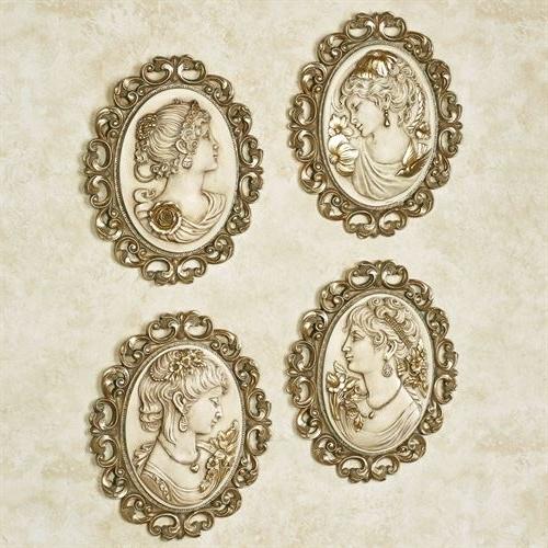 Victorian Ladies Cameo Wall Plaque Set Regarding Trendy Cameo Wall Art (Gallery 7 of 15)