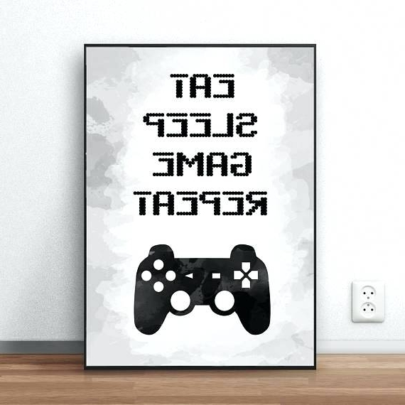 Video Game Wall Art within Most Popular Gaming Wall Art Gaming Wall Art Eat Sleep Game Repeat Video Game