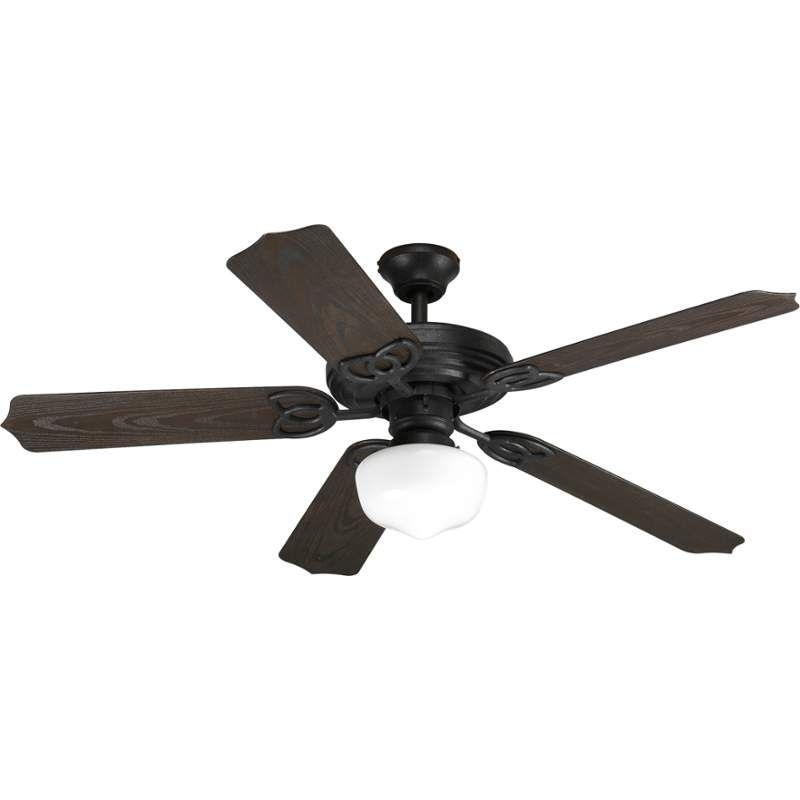 """View The Progress Lighting Patio 52 S1 Patio 52"""" 5 Blade Outdoor inside 2017 Outdoor Ceiling Fans With Schoolhouse Light"""