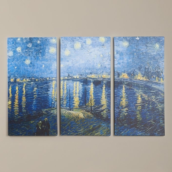 Vincent Van Gogh Multi-Piece Wall Art with Most Popular Charlton Home 'starry Night Over The Rhone'vincent Van Gogh 3