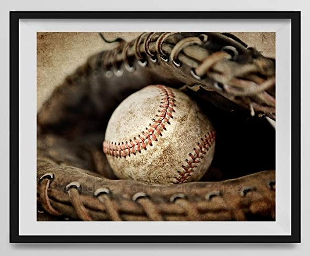 Vintage Baseball Wall Art with regard to Current Amazon: Vintage Baseball In Catchers Mit On Vintage Background