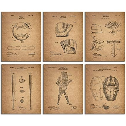 Vintage Baseball Wall Art With Regard To Favorite Amazon: Baseball Patent Wall Art Prints – Set Of Six Vintage (View 6 of 15)