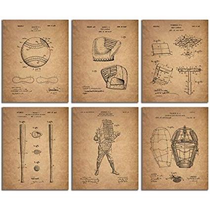 Vintage Baseball Wall Art with regard to Favorite Amazon: Baseball Patent Wall Art Prints - Set Of Six Vintage
