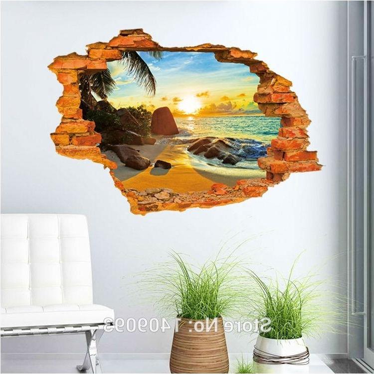 Vintage Brick Wall Decals 3D Sticker Beach Sea Beautiful View Wall inside Well-liked Beach 3D Wall Art
